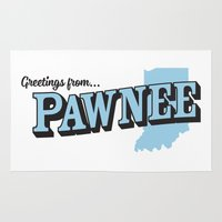 parks and recreation Area & Throw Rugs featuring Parks and Recreation - Greetings from Pawnee by ernieandbert