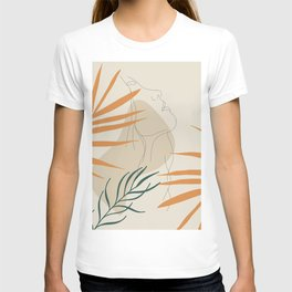 Minimal Line Art Woman And Palm Leaves #Society6 #Buyart T-shirt