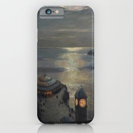 Plymouth Sound by Moonlight and Searchlight coastal nautical landscape painting by Julius Olsson iPhone Case