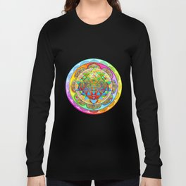Inner Strength Psychedelic Tiger Sri Yantra Mandala Long Sleeve T-shirt