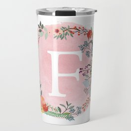 Flower Wreath with Personalized Monogram Initial Letter F on Pink Watercolor Paper Texture Artwork Travel Mug
