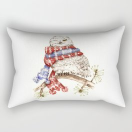 Winking Arctic Owl in Scarf Rectangular Pillow
