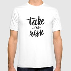 Take the risk quote MEDIUM White Mens Fitted Tee