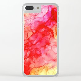 Pink and Yellow: Original Abstract Ink Painting Clear iPhone Case