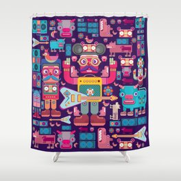 singpentinkhappy band Shower Curtain