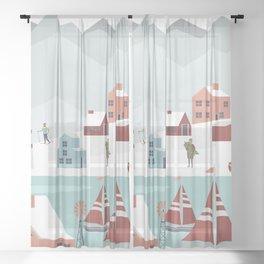 Christmas Village 3 Sheer Curtain