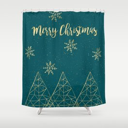 Merry Christmas Teal Gold Shower Curtain