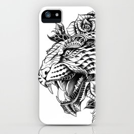Ornate Leopard Black & White Variant iPhone Case