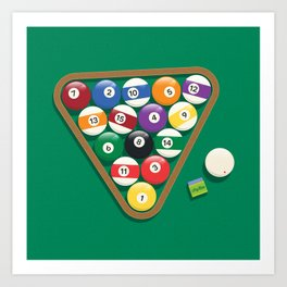 Billiard Balls Rack - Boules de billard Art Print