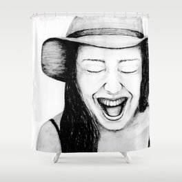 So Amused! Expressions of Happiness Series -Black and White Original Sketch Drawing, pencil/charcoal Shower Curtain