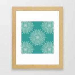 Teal and Lace Mandala Framed Art Print