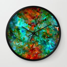 psychedelic geometric triangle fractal abstract pattern in blue green orange Wall Clock