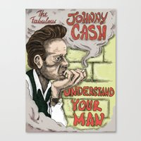 johnny cash Canvas Prints featuring Johnny Cash by Jesse Kidd's Realm of Madness