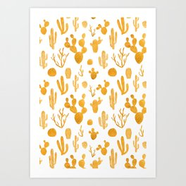 Golden cactus collection Art Print