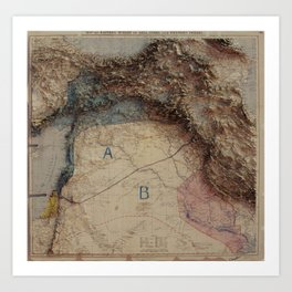 3D Projection of the Sykes-Picot Map of the Middle East Art Print
