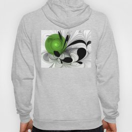 Abstract Black and White with Green Hoody