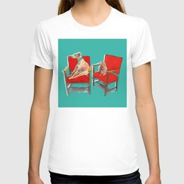 animals in chairs #14 The Greyhound and the Hare T-shirt