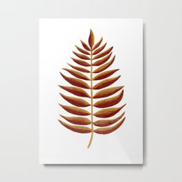 Gold and Copper Palm Leaf Metal Print