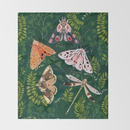 Moths and dragonfly Throw Blanket