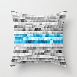 Blue Stripe Geometric Pattern Throw Pillow
