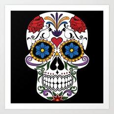 Colorful Sugar Skull Art Print