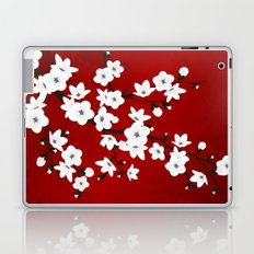 Red Black And White Cherry Blossoms Laptop & iPad Skin