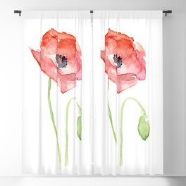 Red Poppy Watercolor Flower Floral Abstract Blackout Curtain