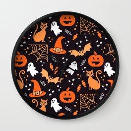 Halloween party illustrations orange, black Wall Clock