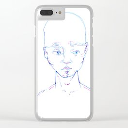 Troubled Young Man Clear iPhone Case