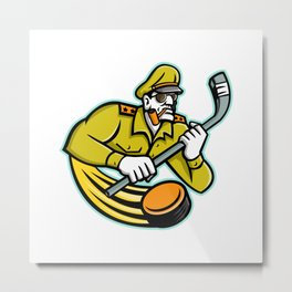 Army General Ice Hockey Sports Mascot Metal Print
