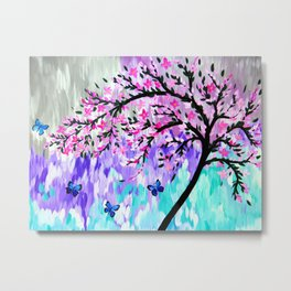 cherry blossom with Ulysses butterflies Metal Print