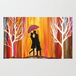 Romance in the Rain I romantic gift art Rug