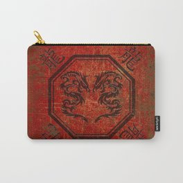 Distressed Dueling Dragons in Octagon Frame With Chinese Dragon Characters Carry-All Pouch