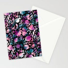 Watercolor Floral Papercut Purple Teal Black Stationery Cards