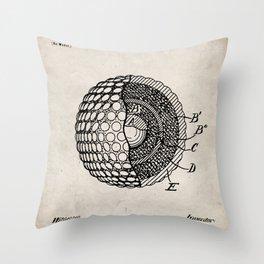 Golf Ball Patent - Golfer Art - Antique Throw Pillow