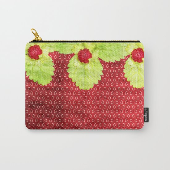 Strawberry LOVE - Strawberries pattern and Illustration Carry-All Pouch