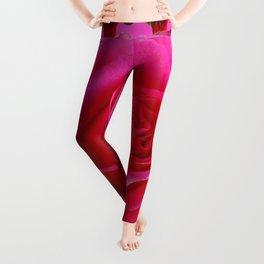 LARGE FUCHSIA PINK ROSE PATTERN ART Leggings