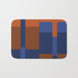 Squares II in Blues ad Tans Bath Mat