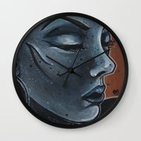 "indigo Wall Clocks featuring Indigo by Barbora ""Mad Alice"" Urbankova"