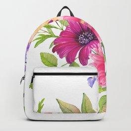 Flowers bouquet, Iris, Dalia, and Gerber Backpack