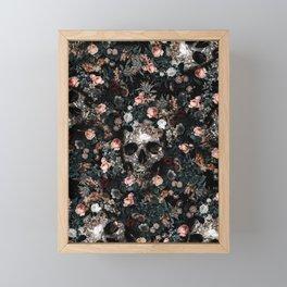 Skull and Floral pattern Framed Mini Art Print