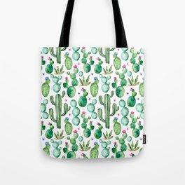 Watercolor Cactus Pattern Tote Bag