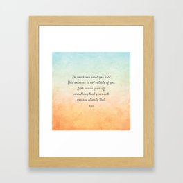 'Do You Know What You Are?' Inspiring Quote by Rumi Framed Art Print