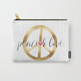 Gold Red Heart Peace Sign Carry-All Pouch