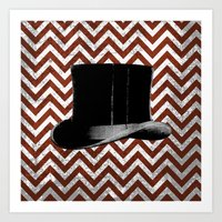 arsenal Art Prints featuring Gentleman's Arsenal - The Hat by Ashley Anonymous