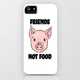 Cute Pig Vegan Friends Not Food Illustration iPhone Case