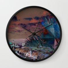 Beach Day - Umbrellas - Ocean Wall Clock