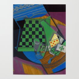 Juan Gris - Digital Remastered Edition - Checker board and playing cards Poster