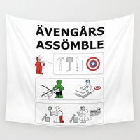 superheroes Wall Tapestries featuring Superheroes Assembling - Colour by Byway