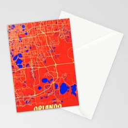 Orlando - United States Retro City Map Stationery Cards